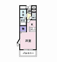 アンソレイエ 3階1Kの間取り