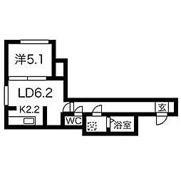 札幌市営東豊線 美園駅 徒歩4分の賃貸マンション 3階1LDKの間取り