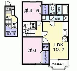 フェニックス徳吉C 2階2LDKの間取り