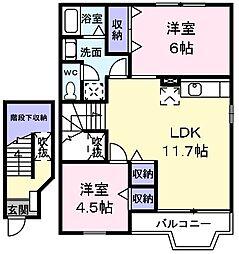 柏 2階2LDKの間取り