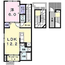 ルーフ ウェーブ笹崎B 3階1LDKの間取り
