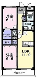 スプリングロードAkasaka 1階2LDKの間取り