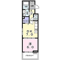 カーサフォレスタ太秦 3階1DKの間取り