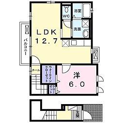 京 RANZAN II 2階1LDKの間取り