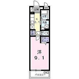 ルクレイル西桜 2階1Kの間取り