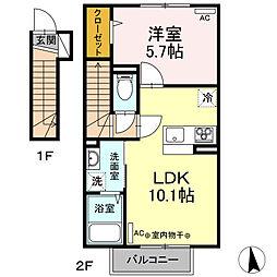 仮)Dーroom新井田西2丁目 2階1LDKの間取り