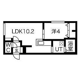 札幌市営東豊線 美園駅 徒歩6分の賃貸マンション 5階1LDKの間取り
