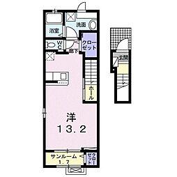 ラ・クレ・ド・ボヌール 2階1Kの間取り