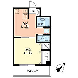 JR東海道本線 鴨宮駅 徒歩8分の賃貸マンション 1階1DKの間取り