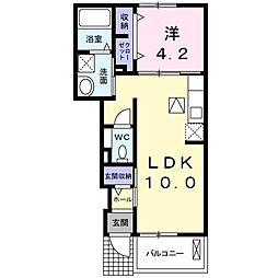 Acqua villa 前田 1階1LDKの間取り