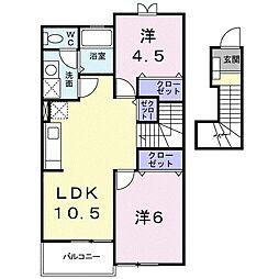 コルティーレ B 2階2LDKの間取り