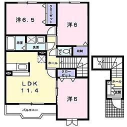 アルドーレ B 2階3LDKの間取り