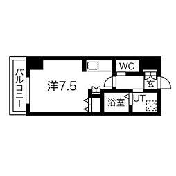 札幌市営東豊線 北13条東駅 徒歩5分の賃貸マンション 12階1Kの間取り