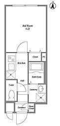 東急東横線 都立大学駅 徒歩2分の賃貸マンション 3階1Kの間取り