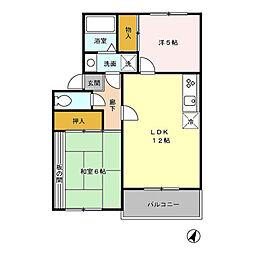 サンヴィレッジ本宿 3階2LDKの間取り