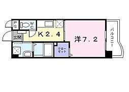 グリーンコートIII番館 2階1Kの間取り