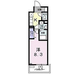 ホワイトマーベル 8階1Kの間取り