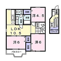レフィナ-ド 2階3LDKの間取り