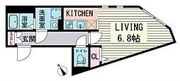 都営大江戸線 赤羽橋駅 徒歩3分の賃貸マンション 3階ワンルームの間取り