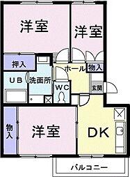 グランメール東中田 1階3DKの間取り