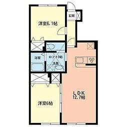 JR横須賀線 新川崎駅 徒歩20分の賃貸アパート 1階2LDKの間取り