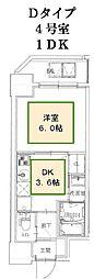 JR山陽本線 神戸駅 徒歩10分の賃貸マンション 2階1DKの間取り