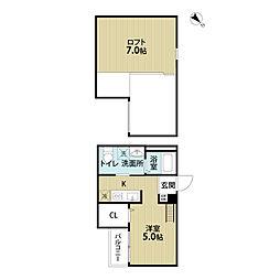 南海高野線 堺東駅 徒歩18分の賃貸アパート 2階ワンルームの間取り