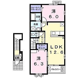 アルト桜台 2階2LDKの間取り