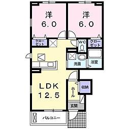 サンモールII 1階2LDKの間取り