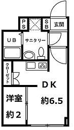 JR仙山線 国見駅 徒歩15分の賃貸マンション 2階1DKの間取り