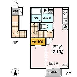 JR仙石線 榴ヶ岡駅 徒歩18分の賃貸アパート 2階ワンルームの間取り