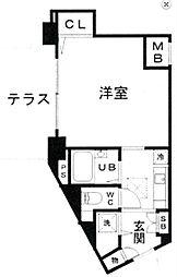 東急東横線 学芸大学駅 徒歩16分の賃貸マンション 1階1Kの間取り