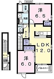 プラネット 2階2LDKの間取り