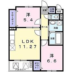 ノース・ニュープロムナード・吉 3階2LDKの間取り