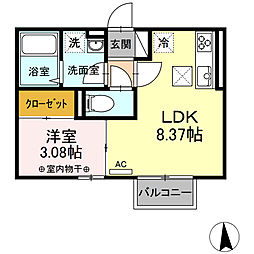 JR東北本線 仙台駅 バス23分 八幡一丁目下車 徒歩3分の賃貸アパート 1階1LDKの間取り