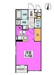 福岡市地下鉄空港線 藤崎駅 徒歩7分の賃貸マンション 2階1Kの間取り