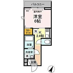 東急大井町線 大岡山駅 徒歩10分の賃貸アパート 2階1Kの間取り