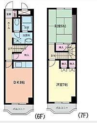 JR仙石線 榴ヶ岡駅 徒歩14分の賃貸マンション 6階2DKの間取り