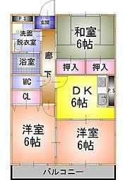 フェアリーA 3階3DKの間取り
