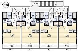 JR筑肥線 周船寺駅 徒歩15分の賃貸アパート 1階ワンルームの間取り