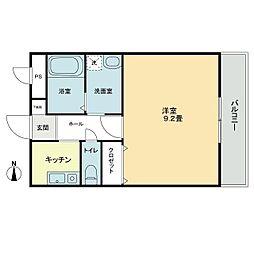 ガレージライフ高松東 2階1Kの間取り