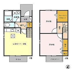 埼玉新都市交通 今羽駅 徒歩11分の賃貸アパート 1階2LDKの間取り