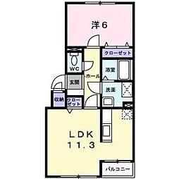 αZoneII 2階1LDKの間取り