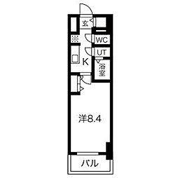 名古屋市営鶴舞線 浅間町駅 徒歩6分の賃貸マンション 15階1Kの間取り