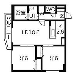 メディオフラム札幌 3階2LDKの間取り