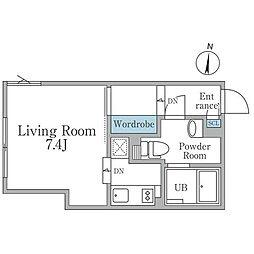 京王線 明大前駅 徒歩3分の賃貸マンション 1階ワンルームの間取り