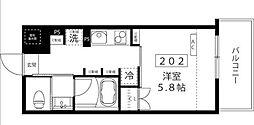 小田急小田原線 代々木上原駅 徒歩3分の賃貸マンション 2階1Kの間取り