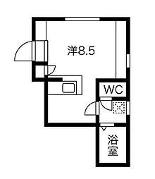 東急田園都市線 用賀駅 徒歩13分の賃貸マンション 3階ワンルームの間取り