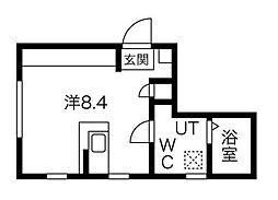 東急田園都市線 用賀駅 徒歩13分の賃貸マンション 5階ワンルームの間取り