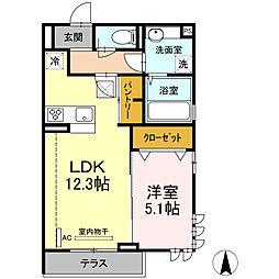 湘南新宿ライン宇須 新川崎駅 徒歩18分の賃貸アパート 1階1LDKの間取り